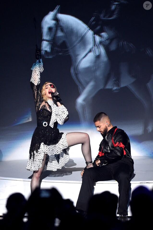 """Madonna et Maluma - """"Billboards Music Awards 2019"""" au MGM Grand Garden Arena à Las Vegas, le 1er mai 2019."""