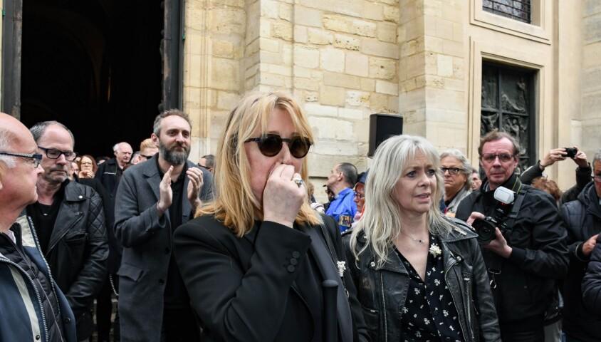 Babette, la femme de Dick Rivers, Natala, la fille de Dick Rivers - Obsèques de Dick Rivers en l'église Saint-Pierre de Montmartre à Paris le 2 mai 2019.