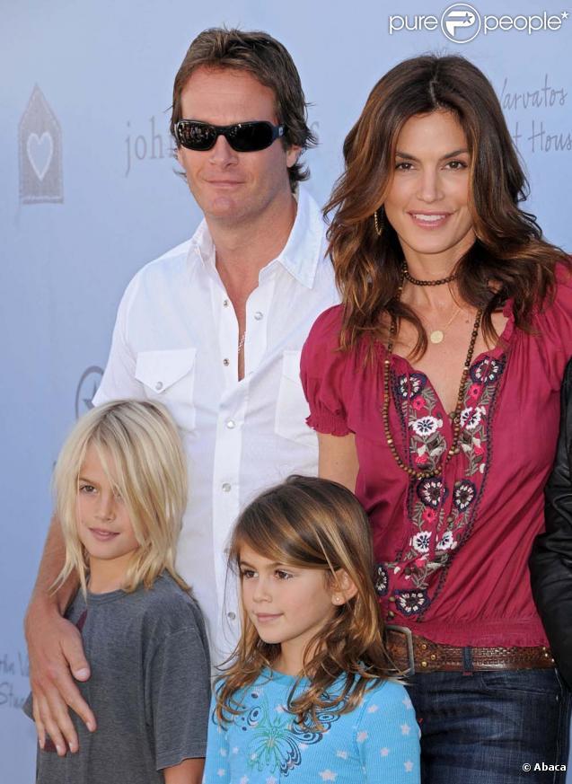 Cindy Crawford et son mari Randy Gerber et leurs enfants Kaya, 7 ans et  Presley, 9 ans