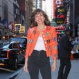 Milla Jovovich arrive à l'émission Good Morning America pour la promotion du film Hellboy à New York le 10 avril 2019.