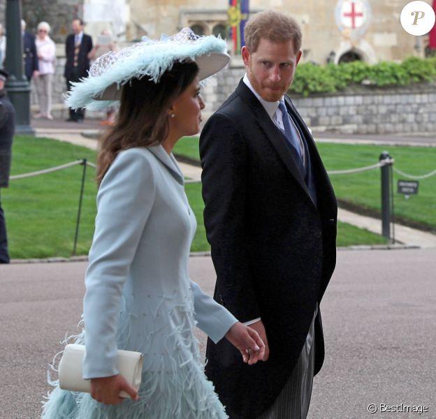 Lady Frederick Windsor et le prince Harry - Mariage de Lady Gabriella Windsor avec Thomas Kingston dans la chapelle Saint-Georges du château de Windsor le 18 mai 2019.