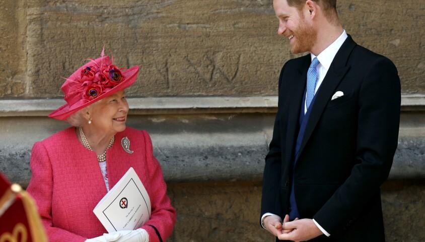 La reine Elisabeth II d'Angleterre et le prince Harry - Mariage de Lady Gabriella Windsor avec Thomas Kingston dans la chapelle Saint-Georges du château de Windsor le 18 mai 2019.