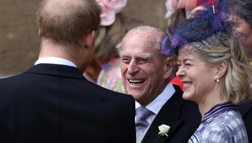 Le prince Philip, duc d'Edimbourg, le prince Harry - Mariage de Lady Gabriella Windsor avec Thomas Kingston dans la chapelle Saint-Georges du château de Windsor le 18 mai 2019.