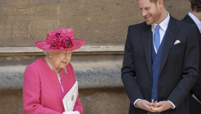 La reine Elisabeth II d'Angleterre, le prince Harry - Mariage de Lady Gabriella Windsor avec Thomas Kingston dans la chapelle Saint-Georges du château de Windsor le 18 mai 2019.
