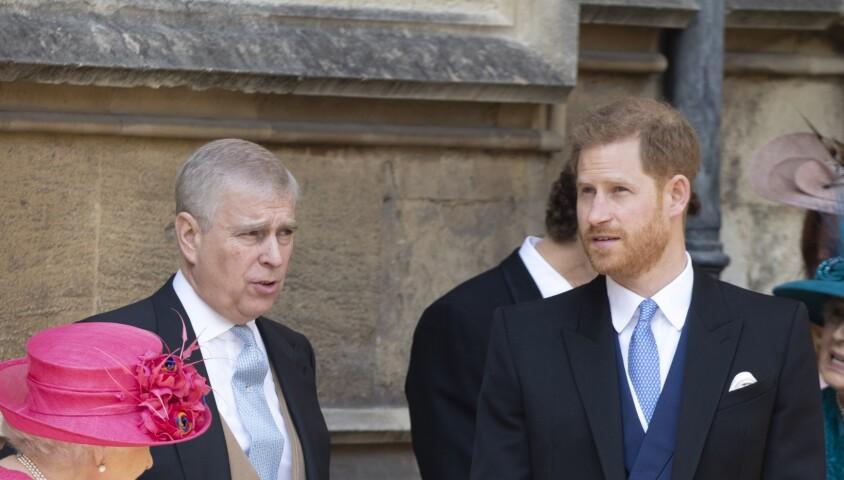 La reine Elisabeth II d'Angleterre, le prince Andrew, le prince Harry, - Mariage de Lady Gabriella Windsor avec Thomas Kingston dans la chapelle Saint-Georges du château de Windsor le 18 mai 2019.