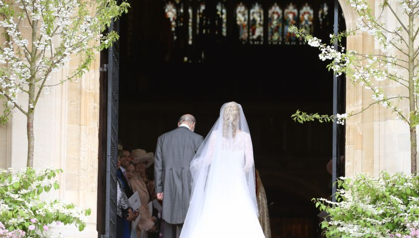Lady Gabriella Windsor et son père le prince Michael of Kent - Mariage de Lady Gabriella Windsor avec Thomas Kingston dans la chapelle Saint-Georges du château de Windsor le 18 mai 2019.