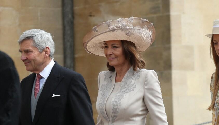 Carole et Michael Middleton- Mariage de Lady Gabriella Windsor avec Thomas Kingston dans la chapelle Saint-Georges du château de Windsor le 18 mai 2019.