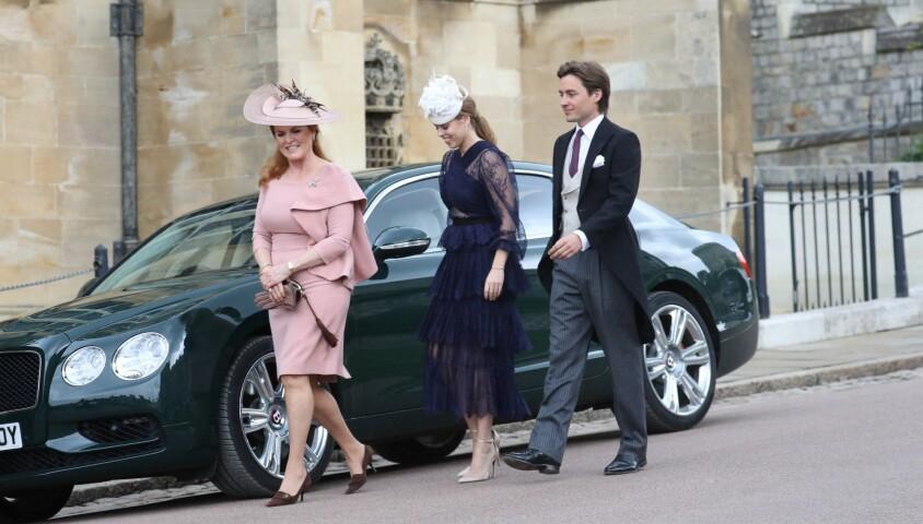 Sarah Ferguson, sa fille la princesse Beatrice et son petit-ami Edoardo Mapelli Mozzi - Mariage de Lady Gabriella Windsor avec Thomas Kingston dans la chapelle Saint-Georges du château de Windsor le 18 mai 2019.