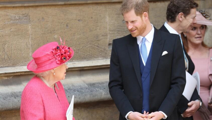 Elizabeth II et le prince Harry - Mariage de Lady Gabriella Windsor avec Thomas Kingston dans la chapelle Saint-Georges du château de Windsor le 18 mai 2019.
