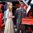 Pierre Casiraghi, sa femme Beatrice Borromeo et Khadja Nin dans les stands Ferrari lors du 77e Grand Prix de F1 de Monaco le 26 mai 2019. © Bruno Bebert/Bestimage