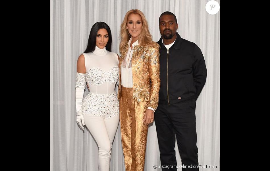 Céline Dion pose dans sa loge du Caesars Palace de Las Vegas avec Kim Kardashian et Kanye West. Mai 2019
