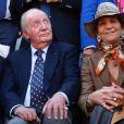Le roi Juan Carlos Ier et l'infante Elena d'Espagne lors d'une corrida à Valladolid, le 12 mai 2019.