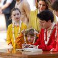 Le premier ministre Justin Trudeau, sa femme Sophie et leurs enfants Xavier, Ella-Grace et Hadrien visitent l'ashram Sabarmati à Ahmedabad, en Inde. 19 février 2018.