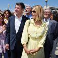 Denise Fabre, Christian Estrosi, le maire de Nice, et sa femme Laura Tenoudji Estrosi durant la première journée du 24e festival du livre de Nice le 31 mai 2019. © Bruno Bebert/Bestimage