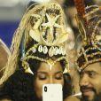 Russel Wilson et sa femme Ciara s'amusent au carnaval de Rio de Janeiro au Brésil, le 3 mars 2019.