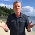 """Denis Brogniart adresse un message à Jesta et Benoît (""""Koh-Lanta"""") pour leur mariage. Juin 2019."""