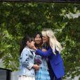 Laeticia Hallyday et ses filles Jade et Joy inaugurent une esplanade portant le nom de Johnny Hallyday située en face du Zénith de Toulouse, le 15 juin 2019, date hautement symbolique puisque le rockeur aurait eu 76 ans. © Dominique Jacovides/Bestimage