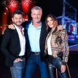 "Christophe Beaugrand, Denis Brogniart et Iris Mittenaere, photo officielle de ""Ninja Warrior 4"", sur TF1"
