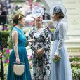 Zara Phillips (Tindall) entre la princesse Eugenie d'York et la duchesse Catherine de Cambridge le 18 juin 2019 lors du Royal Ascot.