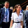 Kate Middleton, duchesse de Cambridge, en robe Suzannah à Wimbledon le 2 juillet 2019 à Londres.