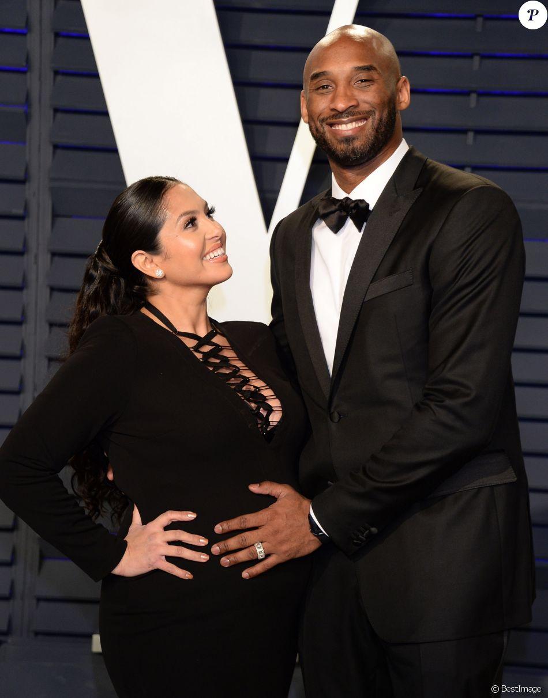 Kobe Bryant et sa femme Vanessa Bryant (enceinte) à la soirée Vanity Fair Oscar Party à Los Angeles. Le 24 février 2019