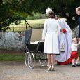 Baptême de la princesse Charlotte de Cambridge à l'église St. Mary Magdalene à Sandringham, le 5 juillet 2015.