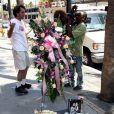 Des fleurs déposées sur l'étoile de Farrah Fawcett sur le Walk of Fame à Los Angeles le 25 juin 2009
