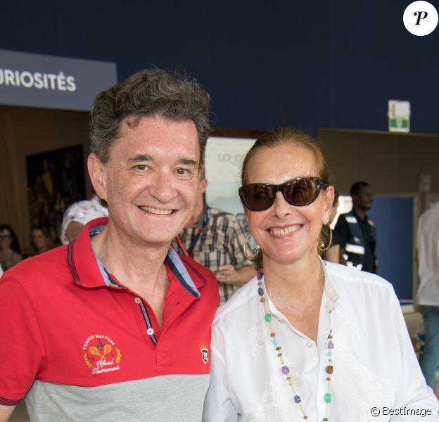Exclusif - Philippe Seyres de Rothschild, sa compagne Carole Bouquet dans l'espace VIP du Longines Paris Eiffel Jumping au Champ de Mars à Paris le 7 juillet 2019.