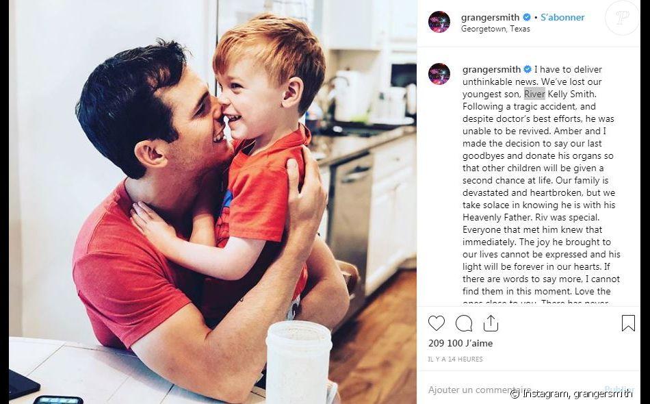Le chanteur américain de country Granger Smith annonce la mort de son fils de 3 ans, River, sur Instagram le 6 juin 2019. River s'est noyé dans la piscine familiale.