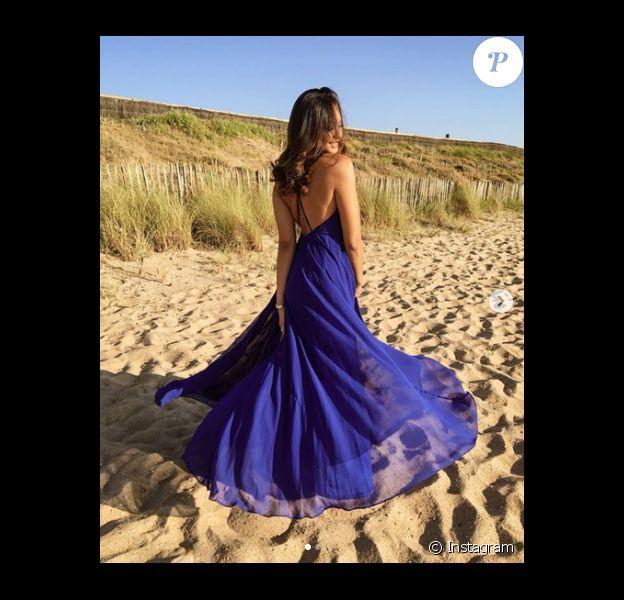 Vaimalama Chaves à Anglet, sublime dans une robe bleue. Juillet 2019.