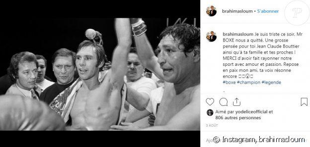 Hommage de Brahim Asloum à Jean-Claude Bouttier sur Instagram le 3 août 2019.