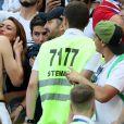 L'ex-Miss France Rachel Legrain-Trapani félicite son compagnon Benjamin Pavard après la victoire de la France face à l'Argentine lors des 8e de finale de la Coupe du monde à Kazan en Russie le 30 juin 2018. © Cyril Moreau/Bestimage