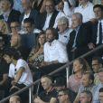 Ophélie Meunier et son mari Matheiu dans les tribunes lors du match de championnat de Ligue 1 Conforama opposant le Paris Saint-Germain au Toulouse FC au parc des Princes à Paris, France, le 25 août 2019. Le PSG a gagné 4-0. © Giancarlo Gorassini/Bestimage