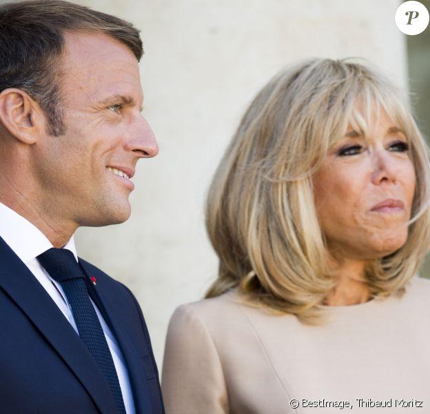Le président français Emmanuel Macron et sa femme la Première Dame Brigitte Macron lors de l'accueil informel au sommet du G7 à Biarritz, France, le 24 août 2019. © Thibaud Moritz/Pool/Bestimage