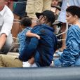 Kylie Jenner, son compagnon Travis Scott et leur fille Stormi Webster sont allés se promener dans le village de pêcheurs de Portofino, Italy, le 12 août 2019.