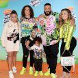"Nicole Tuck, Asahd Tuck Khaled, DJ Khaled au photocall des ""Kids' Choices Awards 2019"" à Los Angeles, le 23 mars 2019."