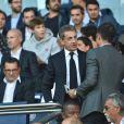 Nicolas Sarkozy et Thiago Motta dans les tribunes lors du match de championnat de Ligue 1 Conforama opposant le Paris Saint-Germain au Racing Club de Strasbourg Alsace au Parc des princes à Paris, France, le 14 septembre 2019. Le PSG a gagné 1-0. © Giancarlo Gorassini/Bestimage