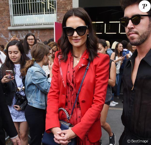 """Katie Holmes lors du défilé de mode """"Fendi"""" à la Fashion Week de Milan. Le 19 septembre 2019."""