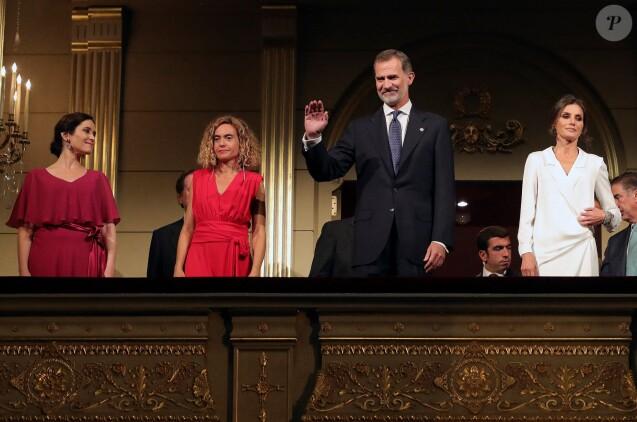 """La reine Letizia et le roi Felipe VI d'Espagne lors de l'ouverture de la saison 2019-2020 de l'Opéra de Madrid avec """"Don Carlo"""" le 18 septembre 2019."""