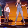 "Léna, Natihei, Mini Div - Battles de ""The Voice Kids 2019"" sur TF1. Le 27 septembre 2019."