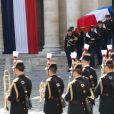 Le cercueil de l'ancien président lors des honneurs funèbres militaires rendus à l'ancien président de la République française Jacques Chirac dans la cour d'honneur des Invalides à Paris, France, le 30 septembre 2019. © Cyril Moreau/Bestimage