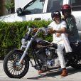Exclusif - Laeticia Hallyday fait une grande virée sur les Harley-Davidson de Johnny avec Pierre Billon, Philippe Fatien et Fabrice Le Ruyet (mari d'Anne Marcassus) à Los Angeles le 28 septembre 2018.