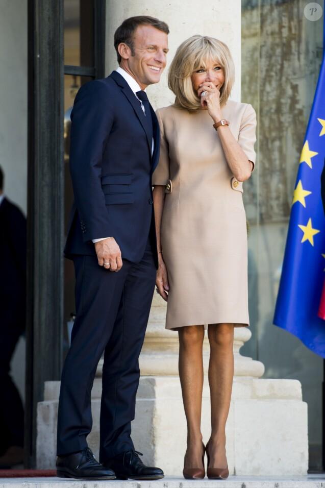 Le président Emmanuel Macron et la première dame Brigitte Macron - Le président de la République française reçoit le premier ministre de la République Hellénique au palais de l'Elysée à Paris le 22 août 2019. © JB Autissier / Panoramic / Bestimage