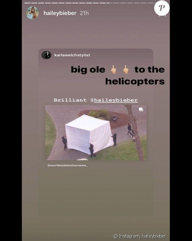 Hailey Bieber se cache sous une tente pour échapper aux photographes lors de son mariage- 30 septembre 2019.