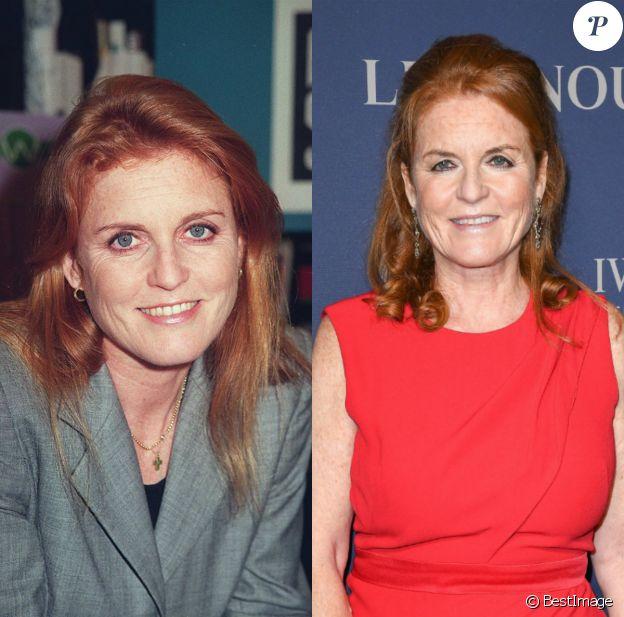 Sarah Ferguson en 1985 (26 ans) et le 1er octobre 2019 à Londres.