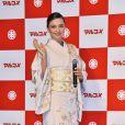 Miranda Kerr lors de la présentation des produits Marukome Koji-amazake (Saké et riz au malt) à Tokyo le 10 janvier 2019.