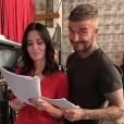 Courteney Cox et David Beckham en tournage pour un futur épisode de la série Modern Family. Octobre 2019.