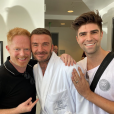 Jesse Tyler, David Beckham et le mari de Jesse Tyler, Justin Mikita en tournage pour un futur épisode de la série Modern Family. Octobre 2019.