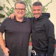 Eric Stonestreet et David Beckham en tournage pour un futur épisode de la série Modern Family. Octobre 2019.