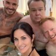 Courteney Cox, David Beckham, Jesse Tyler et Eric Stonestreet en tournage pour un futur épisode de la série Modern Family. Octobre 2019.